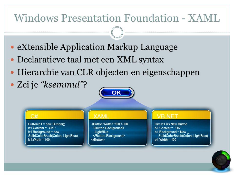 Windows Presentation Foundation - XAML eXtensible Application Markup Language Declaratieve taal met een XML syntax Hierarchie van CLR objecten en eige