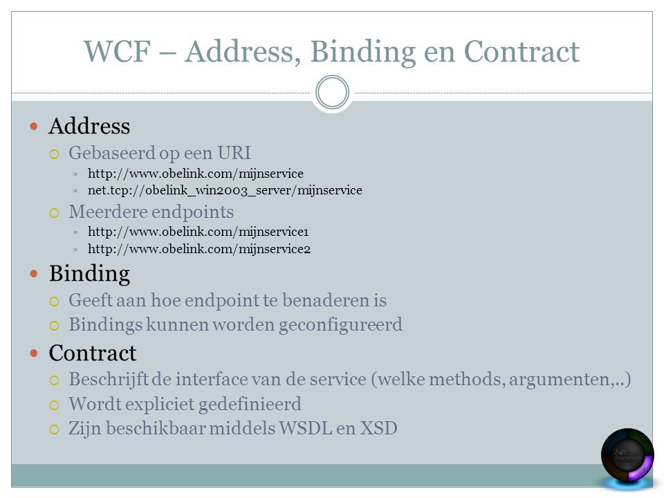 WCF – Address, Binding en Contract Address  Gebaseerd op een URI  http://www.obelink.com/mijnservice  net.tcp://obelink_win2003_server/mijnservice