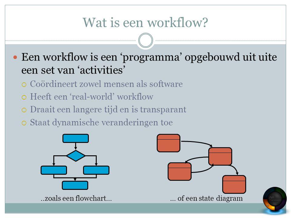Wat is een workflow? Een workflow is een 'programma' opgebouwd uit uite een set van 'activities'  Coördineert zowel mensen als software  Heeft een '