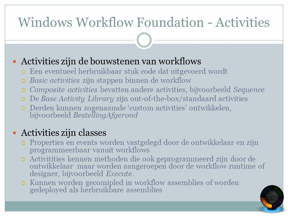 Windows Workflow Foundation - Activities Activities zijn de bouwstenen van workflows  Een eventueel herbruikbaar stuk code dat uitgevoerd wordt  Bas