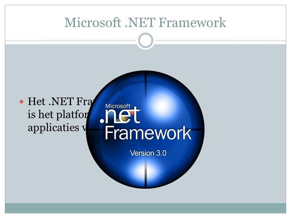 Microsoft.NET Framework. Het.NET Framework 3.0 is het platform voor de applicaties van morgen.