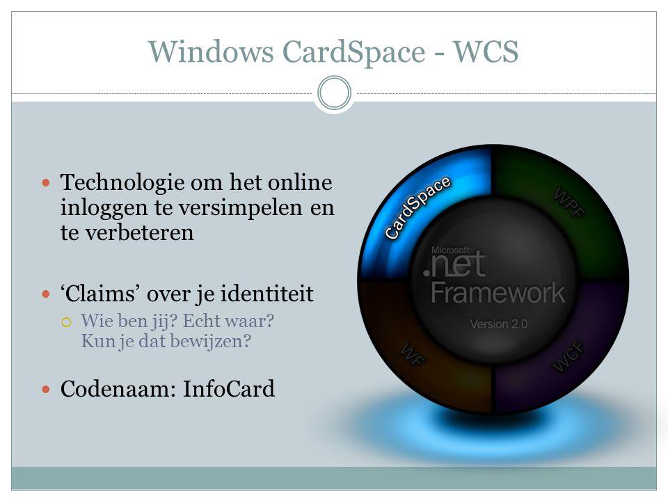 Windows CardSpace - WCS Technologie om het online inloggen te versimpelen en te verbeteren 'Claims' over je identiteit  Wie ben jij? Echt waar? Kun j