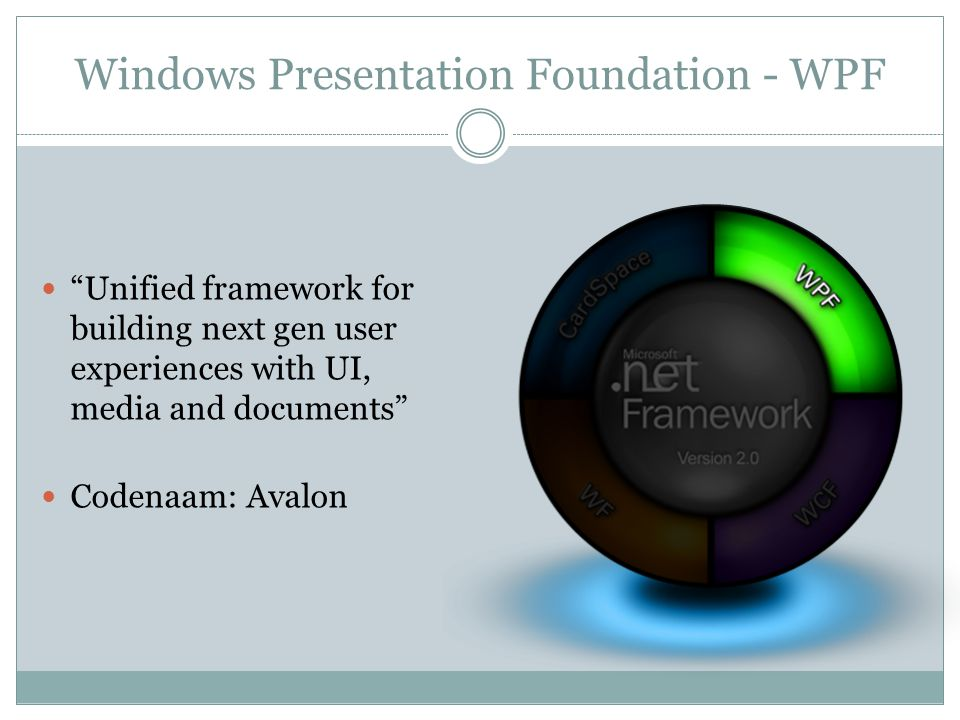 Windows Presentation Foundation - WPF Unified framework for building next gen user experiences with UI, media and documents Codenaam: Avalon