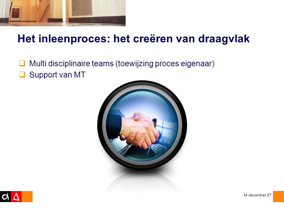 zaterdag 12 juli 2014 14 december 07 Het inleenproces: het creëren van draagvlak  Multi disciplinaire teams (toewijzing proces eigenaar)  Support van MT