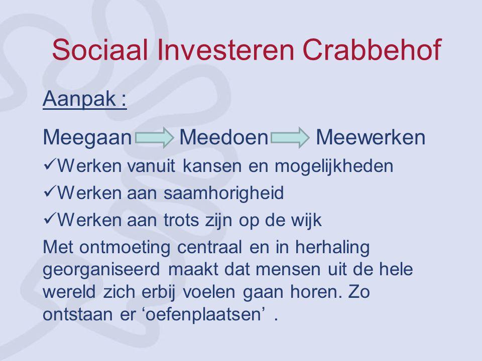 Sociaal Investeren Crabbehof Aanpak : Meegaan Meedoen Meewerken Werken vanuit kansen en mogelijkheden Werken aan saamhorigheid Werken aan trots zijn o