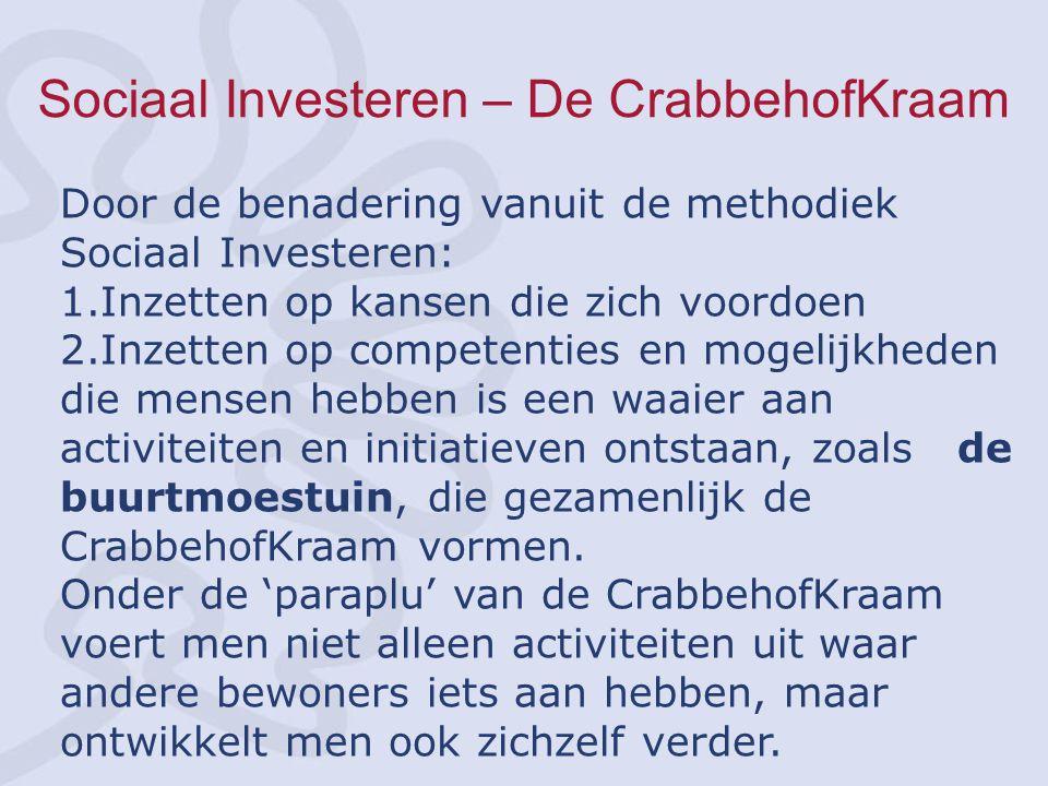 Sociaal Investeren – De CrabbehofKraam Door de benadering vanuit de methodiek Sociaal Investeren: 1.Inzetten op kansen die zich voordoen 2.Inzetten op competenties en mogelijkheden die mensen hebben is een waaier aan activiteiten en initiatieven ontstaan, zoals de buurtmoestuin, die gezamenlijk de CrabbehofKraam vormen.