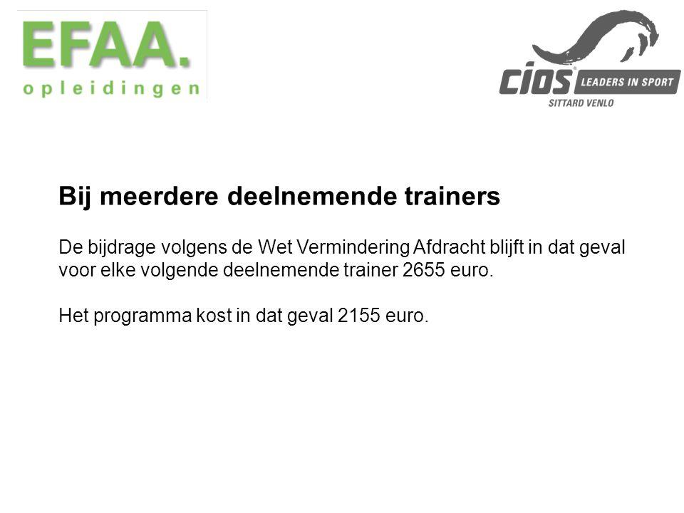 De bijdrage volgens de Wet Vermindering Afdracht blijft in dat geval voor elke volgende deelnemende trainer 2655 euro.