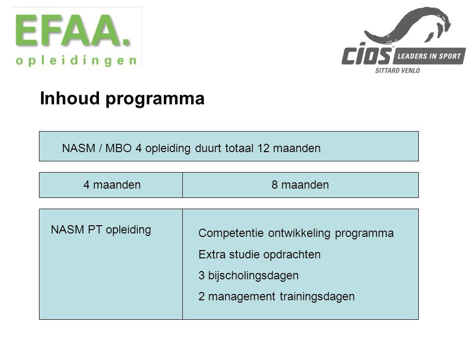 Inhoud NASM PT opleiding Wetenschappelijk onderbouwt en geïntegreerd trainingsconcept