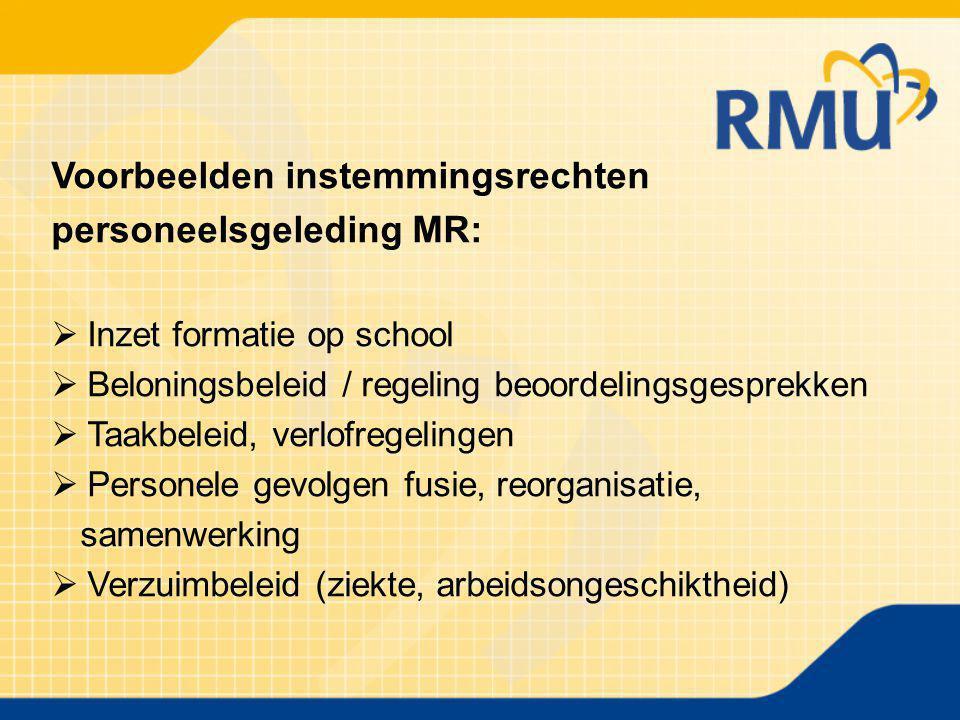 Voorbeelden instemmingsrechten personeelsgeleding MR:  Inzet formatie op school  Beloningsbeleid / regeling beoordelingsgesprekken  Taakbeleid, ver