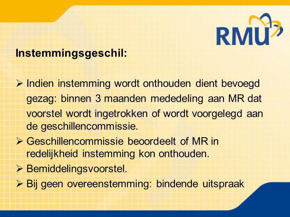 Instemmingsgeschil:  Indien instemming wordt onthouden dient bevoegd gezag: binnen 3 maanden mededeling aan MR dat voorstel wordt ingetrokken of word