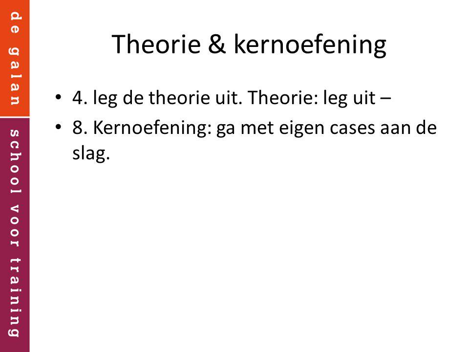 Theorie & kernoefening 4. leg de theorie uit. Theorie: leg uit – 8. Kernoefening: ga met eigen cases aan de slag.