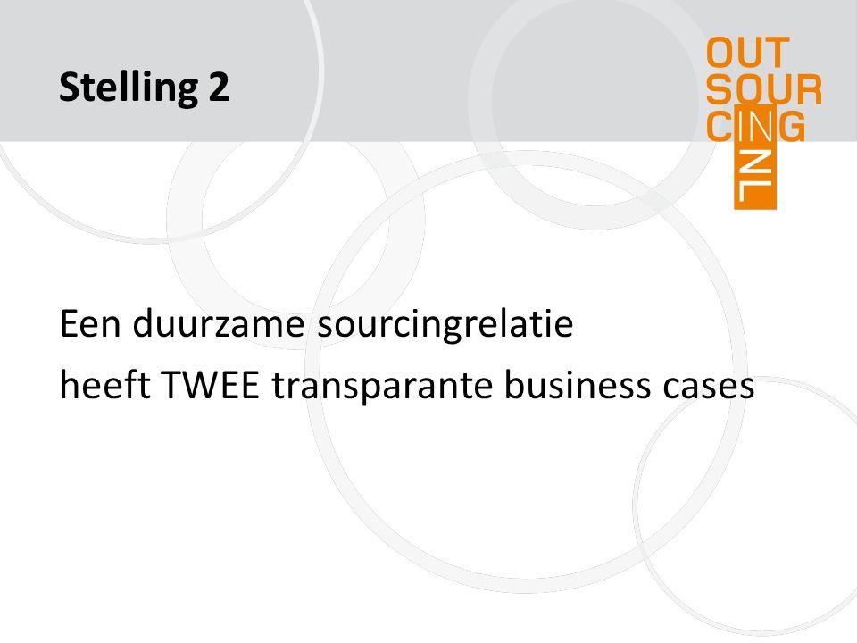 Een duurzame sourcingrelatie heeft TWEE transparante business cases Stelling 2