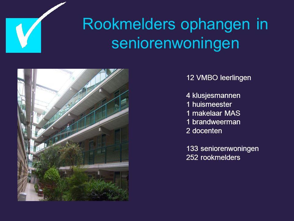 Rookmelders ophangen in seniorenwoningen 12 VMBO leerlingen 4 klusjesmannen 1 huismeester 1 makelaar MAS 1 brandweerman 2 docenten 133 seniorenwoninge