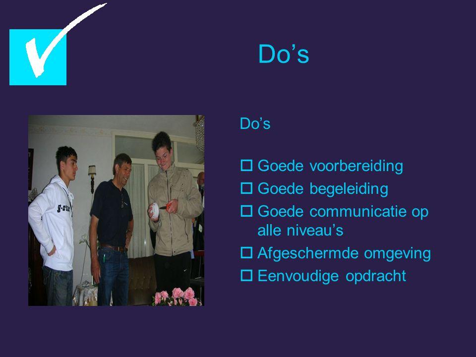 Do's  Goede voorbereiding  Goede begeleiding  Goede communicatie op alle niveau's  Afgeschermde omgeving  Eenvoudige opdracht