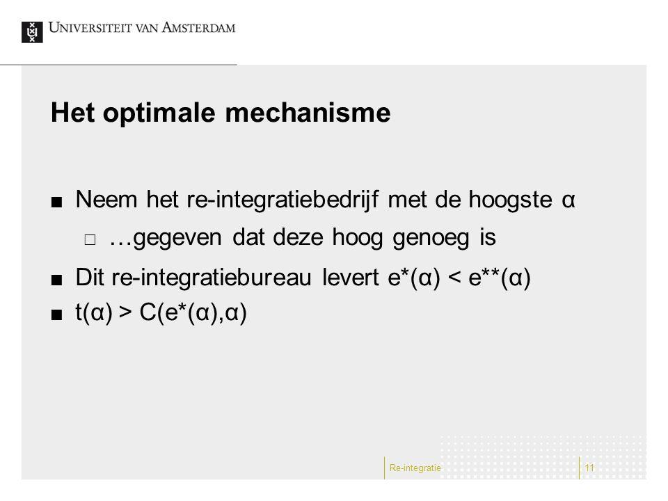 Het optimale mechanisme Neem het re-integratiebedrijf met de hoogste α  …gegeven dat deze hoog genoeg is Dit re-integratiebureau levert e*(α) < e**(α