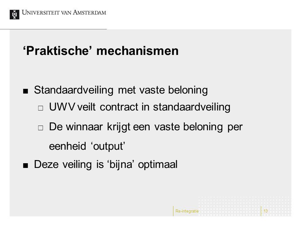 'Praktische' mechanismen Standaardveiling met vaste beloning  UWV veilt contract in standaardveiling  De winnaar krijgt een vaste beloning per eenhe