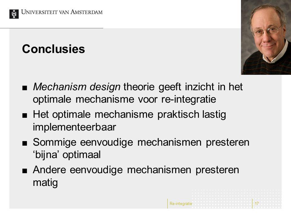 Conclusies Mechanism design theorie geeft inzicht in het optimale mechanisme voor re-integratie Het optimale mechanisme praktisch lastig implementeerb