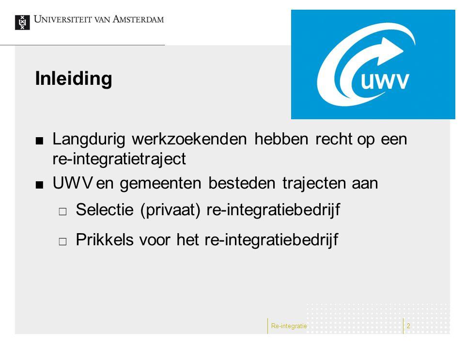 Re-integratie2 Inleiding Langdurig werkzoekenden hebben recht op een re-integratietraject UWV en gemeenten besteden trajecten aan  Selectie (privaat)