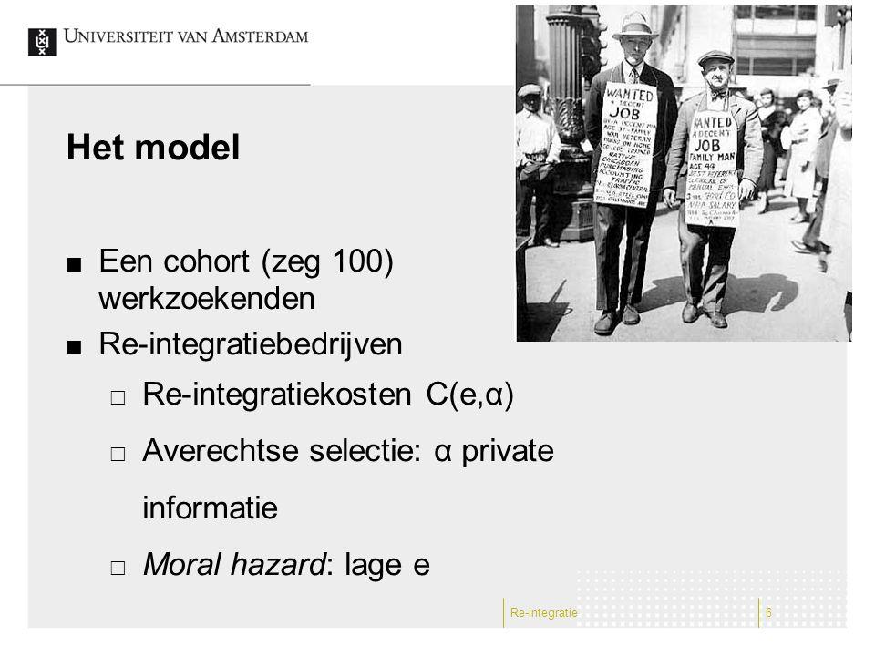 Het model Een cohort (zeg 100) werkzoekenden Re-integratiebedrijven  Re-integratiekosten C(e,α)  Averechtse selectie: α private informatie  Moral h