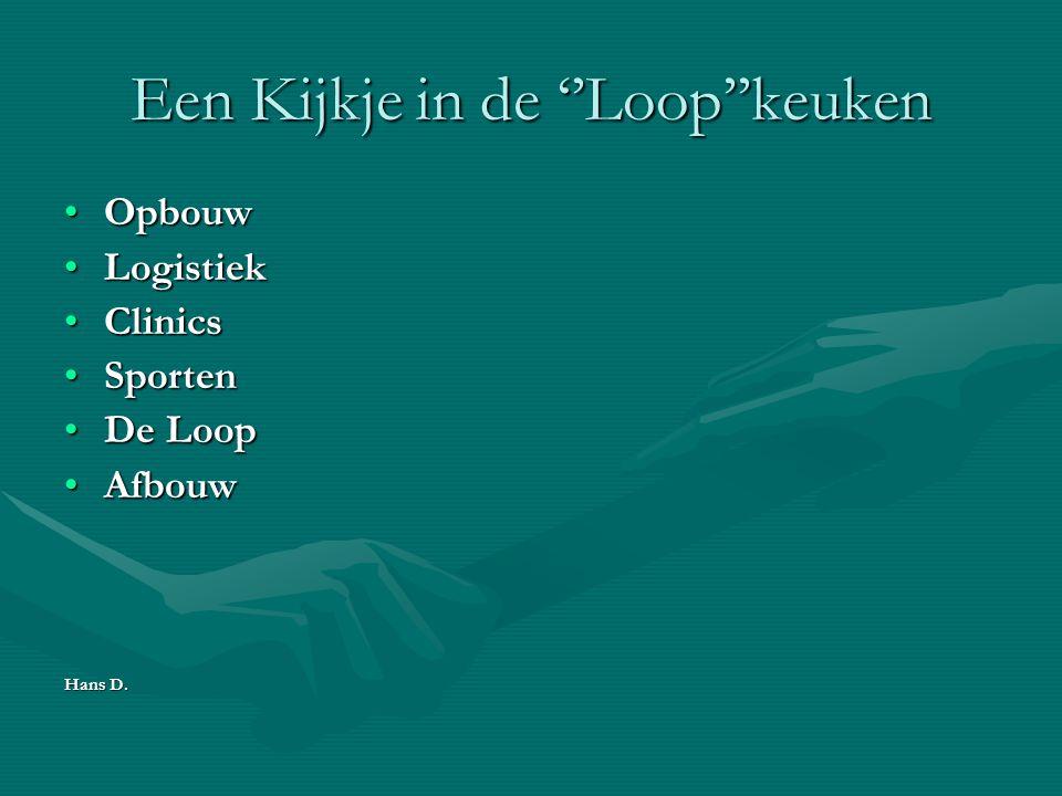 Een Kijkje in de ''Loop''keuken OpbouwOpbouw LogistiekLogistiek ClinicsClinics SportenSporten De LoopDe Loop AfbouwAfbouw Hans D.