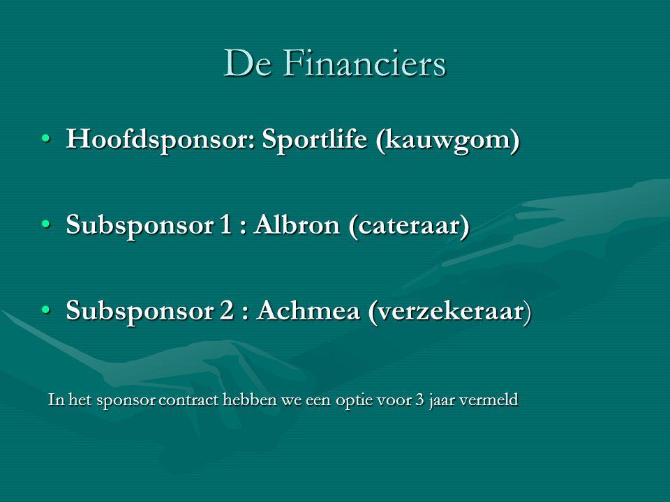 De Financiers Hoofdsponsor: Sportlife (kauwgom)Hoofdsponsor: Sportlife (kauwgom) Subsponsor 1 : Albron (cateraar)Subsponsor 1 : Albron (cateraar) Subs