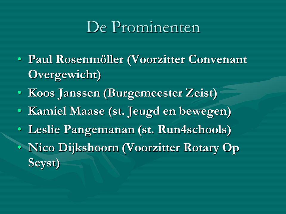 De Prominenten Paul Rosenmöller (Voorzitter Convenant Overgewicht)Paul Rosenmöller (Voorzitter Convenant Overgewicht) Koos Janssen (Burgemeester Zeist