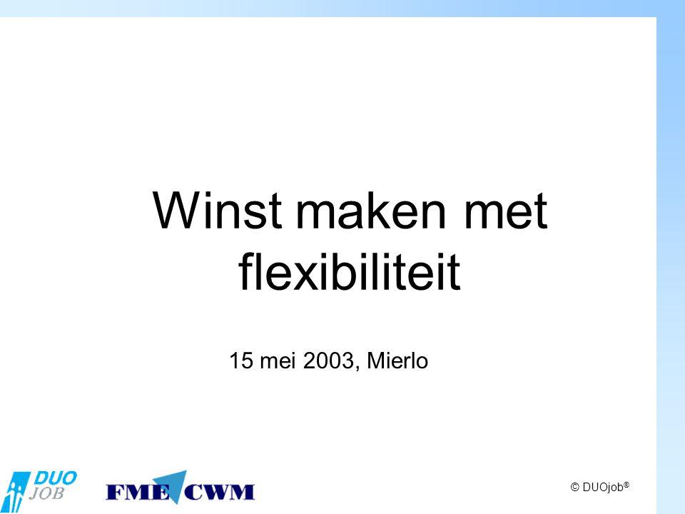 © DUOjob ® Winst maken met flexibiliteit 15 mei 2003, Mierlo