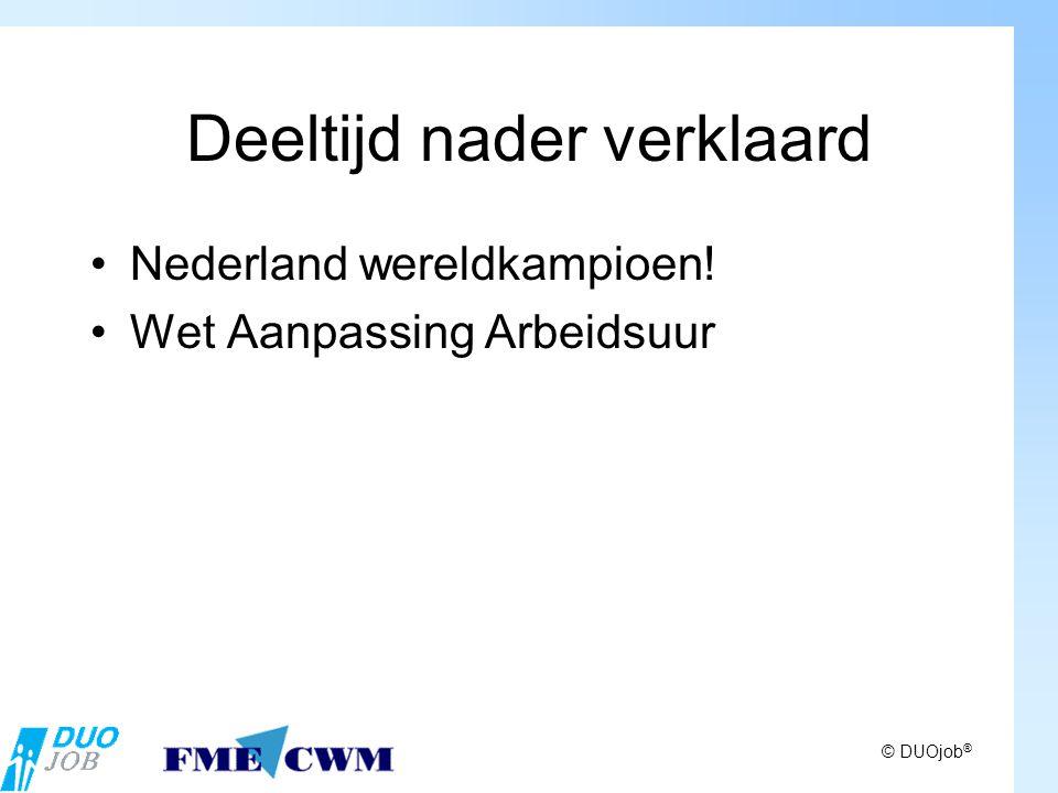 © DUOjob ® Deeltijd nader verklaard Nederland wereldkampioen! Wet Aanpassing Arbeidsuur