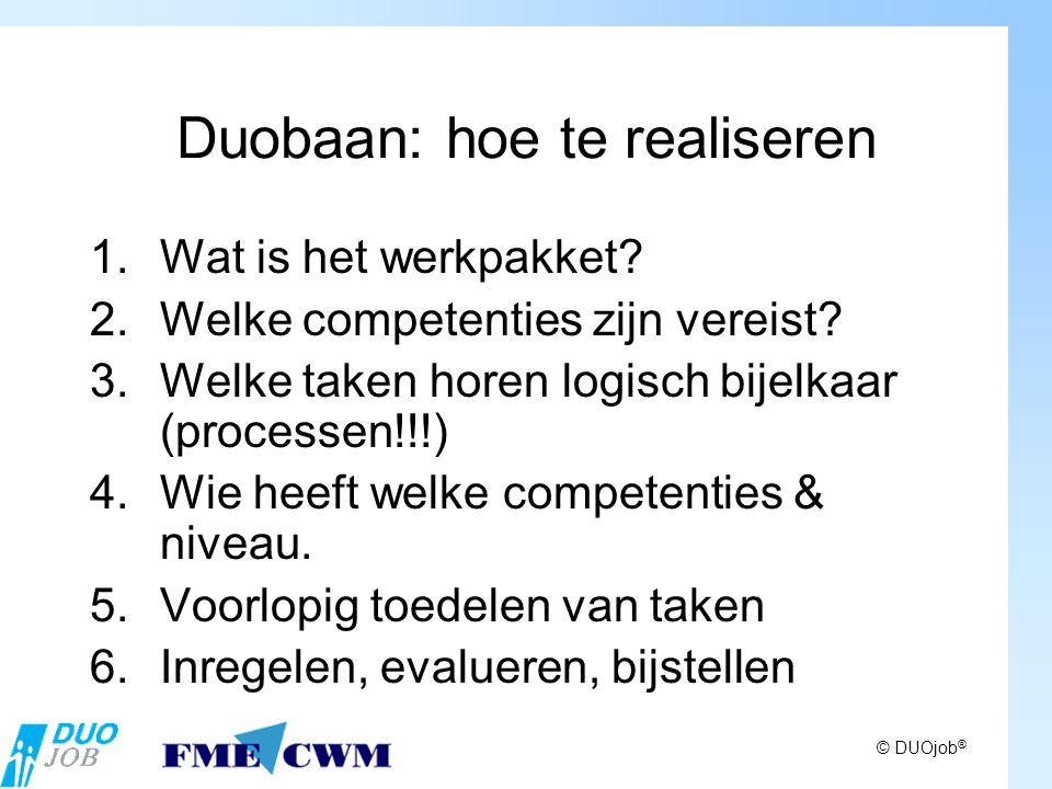 © DUOjob ® Duobaan: hoe te realiseren 1.Wat is het werkpakket.