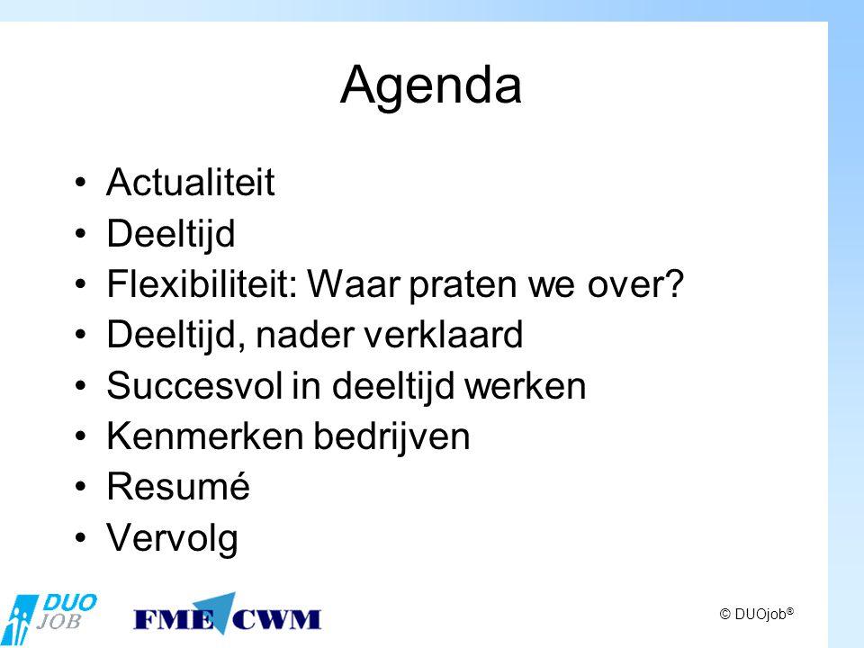 © DUOjob ® Agenda Actualiteit Deeltijd Flexibiliteit: Waar praten we over.