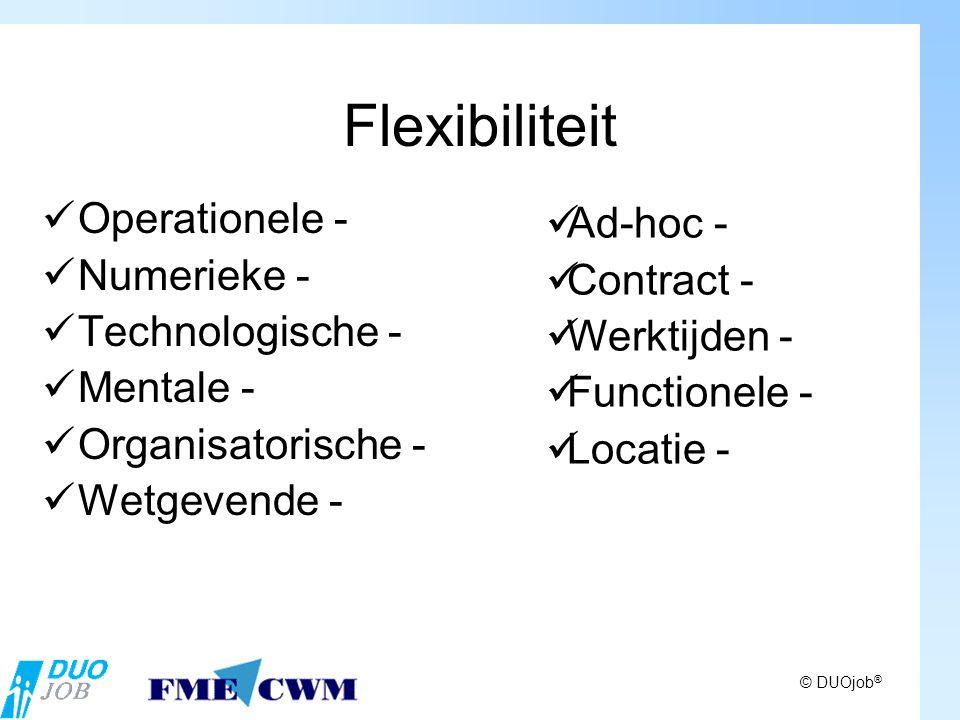 © DUOjob ® Flexibiliteit Operationele - Numerieke - Technologische - Mentale - Organisatorische - Wetgevende - Ad-hoc - Contract - Werktijden - Functionele - Locatie -