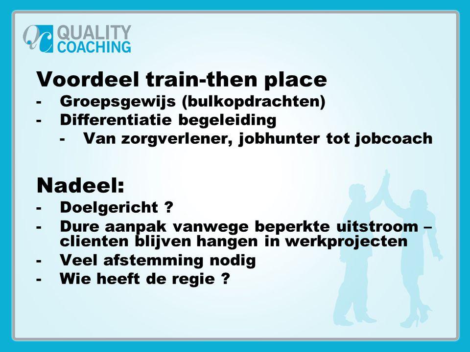 Voordeel train-then place -Groepsgewijs (bulkopdrachten) -Differentiatie begeleiding -Van zorgverlener, jobhunter tot jobcoach Nadeel: -Doelgericht ?