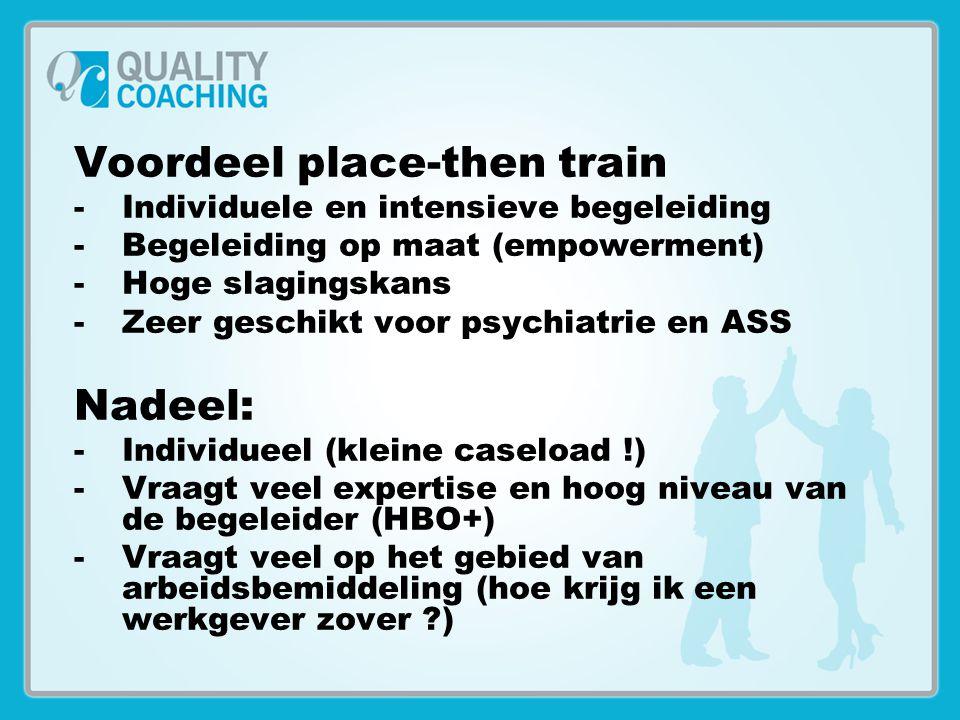 Voordeel place-then train -Individuele en intensieve begeleiding -Begeleiding op maat (empowerment) -Hoge slagingskans -Zeer geschikt voor psychiatrie