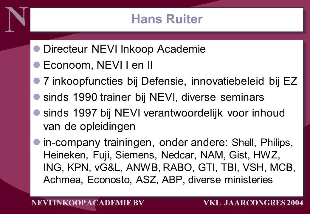 NEVI INKOOP ACADEMIE BV VKL JAARCONGRES 2004 Hans Ruiter Directeur NEVI Inkoop Academie Econoom, NEVI I en II 7 inkoopfuncties bij Defensie, innovatie