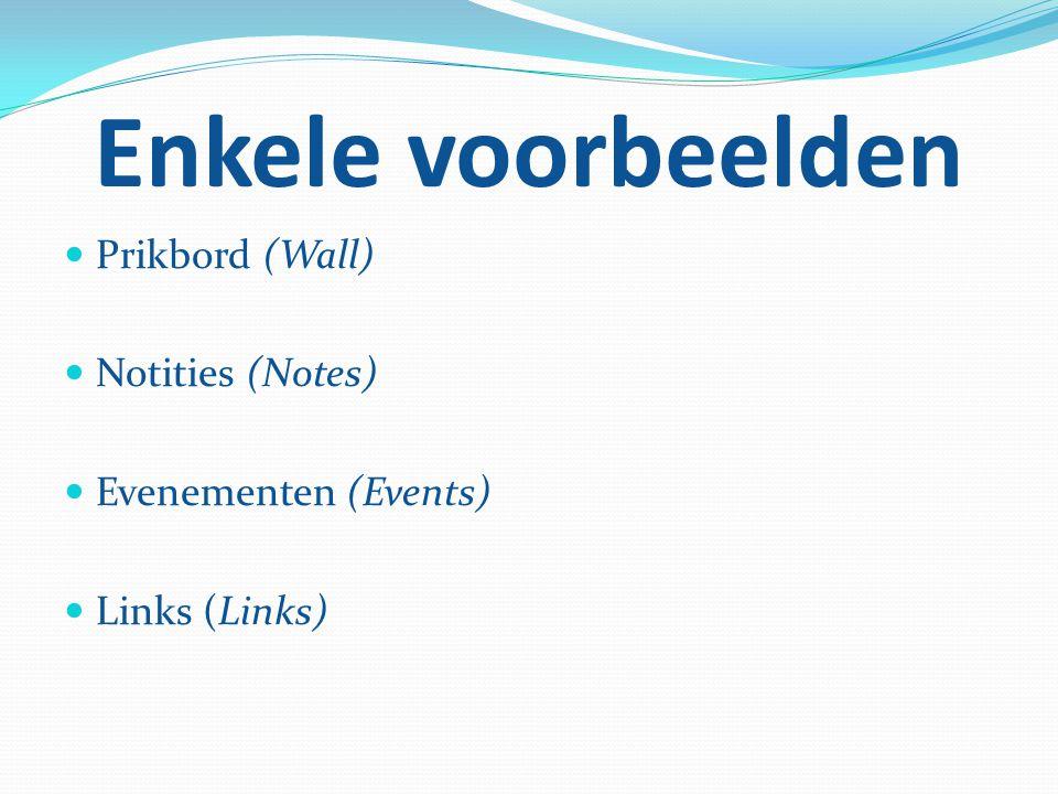 Enkele voorbeelden Prikbord (Wall) Notities (Notes) Evenementen (Events) Links (Links)