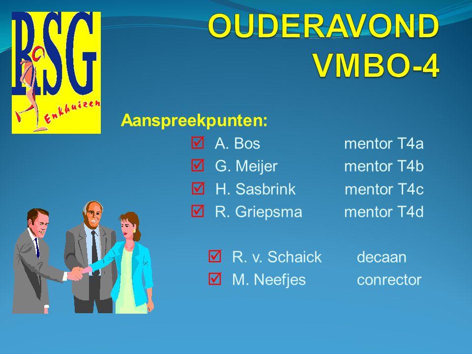 Aanspreekpunten:  A.Bos mentor T4a  G. Meijer mentor T4b  H.