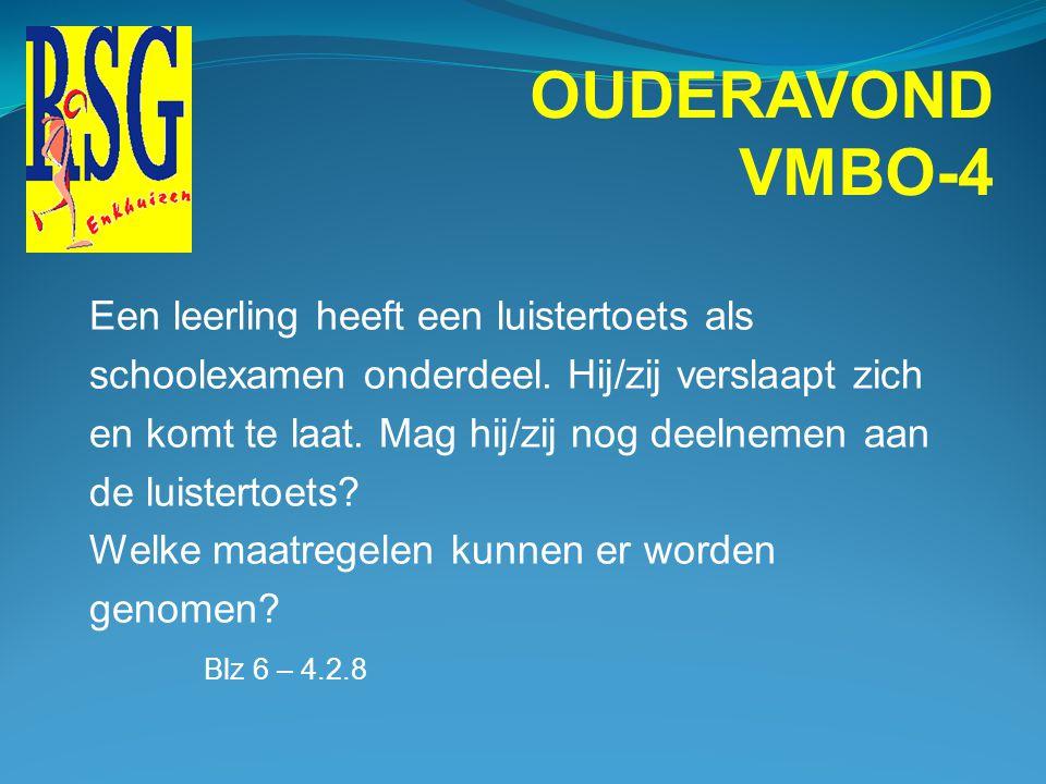 OUDERAVOND VMBO-4 Een leerling haalt voor geschiedenis SE1 een 4 SE2 een 3,3 SE3 een 7 SE4 een 5,7 ------ 20:4 = 5 En voor geschiedenis CE 3.9 Welk ci