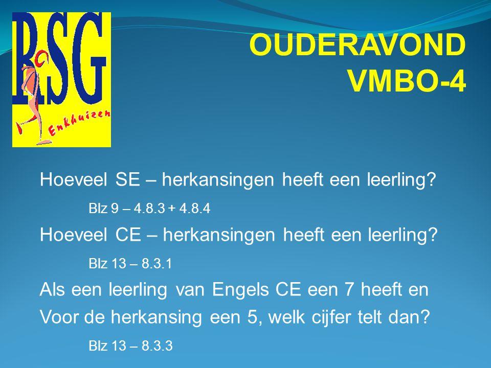 OUDERAVOND VMBO-4 Een leerling is het niet eens met het cijfer wat hij/zij heeft gekregen voor het schoolexamen. Wat moet hij/zij doen ? Blz 15 – 12.1