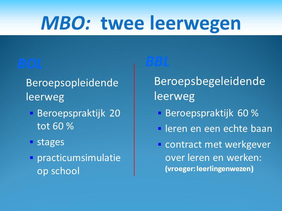 STAP 1: Wat kan ik kiezen?  1. Verder leren MBO: BOL variant HAVO  2. Leren en werken MBO: BBL variant