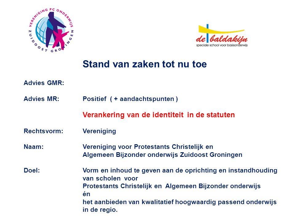 Stand van zaken tot nu toe Advies GMR: Advies MR:Positief ( + aandachtspunten ) Verankering van de identiteit in de statuten Rechtsvorm:Vereniging Naa