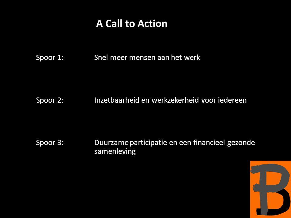 A Call to Action Spoor 1: Snel meer mensen aan het werk Spoor 2: Inzetbaarheid en werkzekerheid voor iedereen Spoor 3:Duurzame participatie en een financieel gezonde samenleving