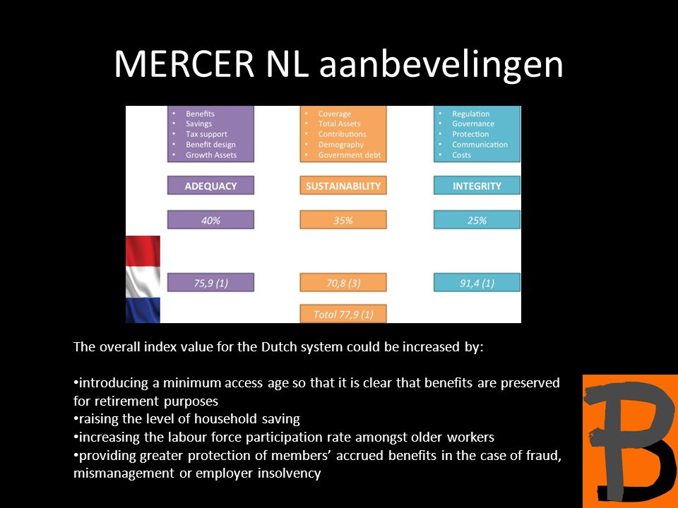 MERCER NL aanbevelingen The overall index value for the Dutch system could be increased by: introducing a minimum access age so that it is clear that