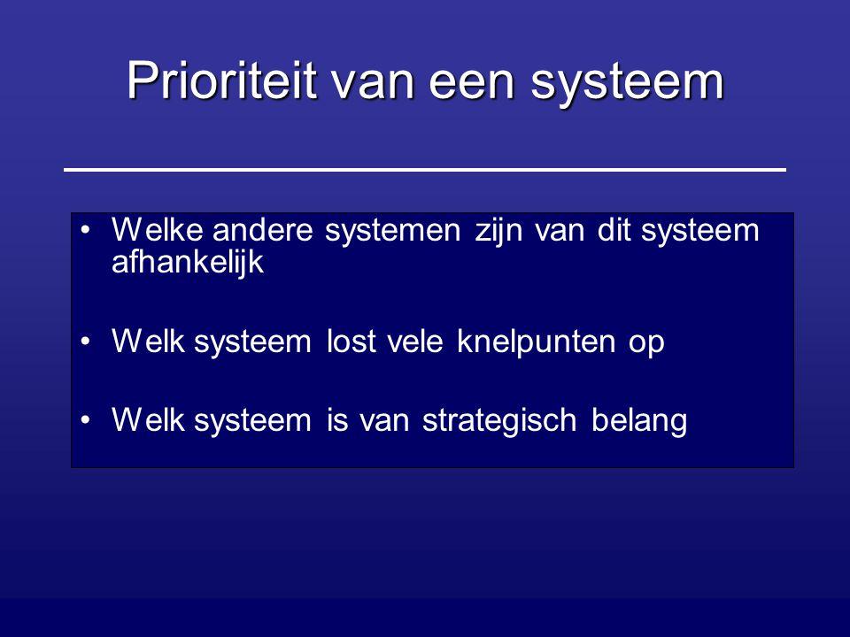 Prioriteit van een systeem Welke andere systemen zijn van dit systeem afhankelijk Welk systeem lost vele knelpunten op Welk systeem is van strategisch