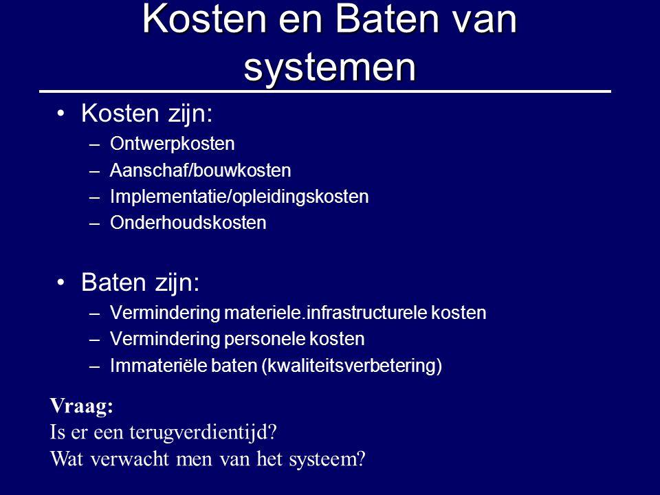 Kosten en Baten van systemen Kosten zijn: –Ontwerpkosten –Aanschaf/bouwkosten –Implementatie/opleidingskosten –Onderhoudskosten Baten zijn: –Verminder