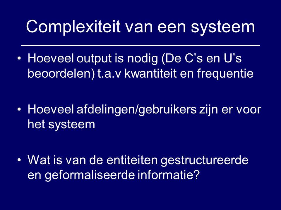 Complexiteit van een systeem Hoeveel output is nodig (De C's en U's beoordelen) t.a.v kwantiteit en frequentie Hoeveel afdelingen/gebruikers zijn er v