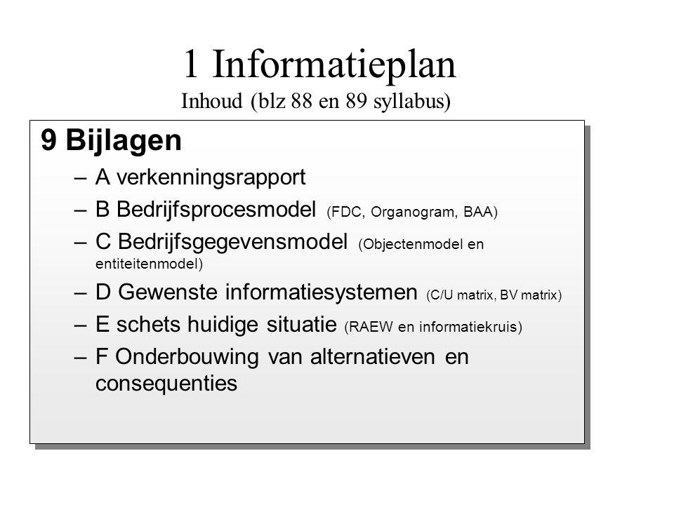 –A verkenningsrapport –B Bedrijfsprocesmodel (FDC, Organogram, BAA) –C Bedrijfsgegevensmodel (Objectenmodel en entiteitenmodel) –D Gewenste informatie