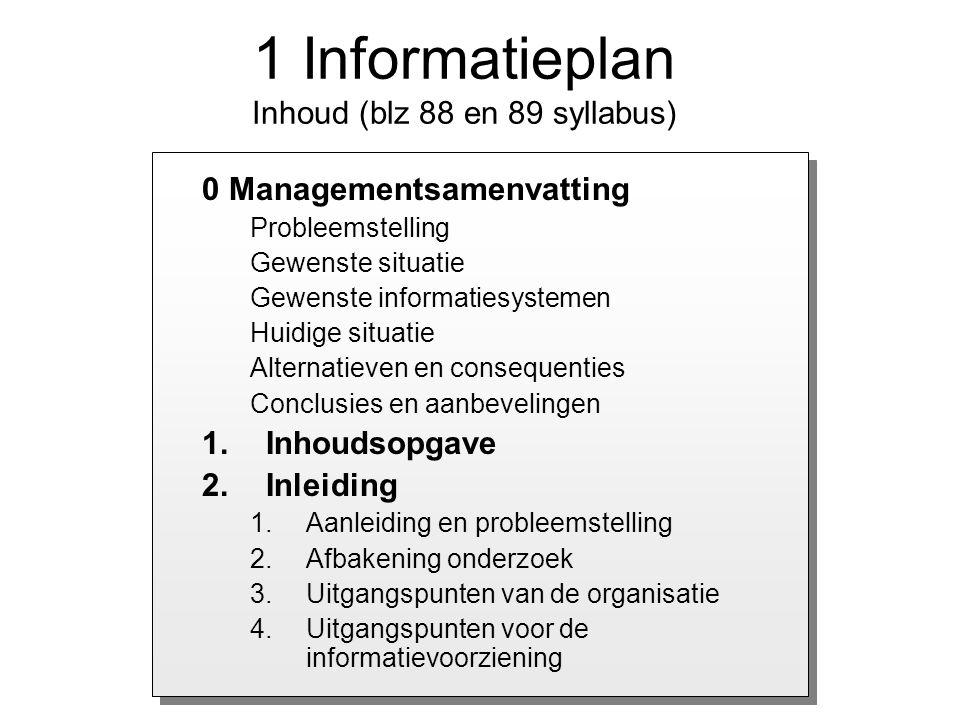 0 Managementsamenvatting Probleemstelling Gewenste situatie Gewenste informatiesystemen Huidige situatie Alternatieven en consequenties Conclusies en