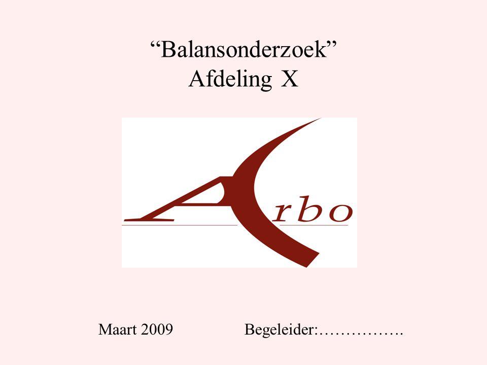 Balansonderzoek Afdeling X Maart 2009Begeleider:…………….
