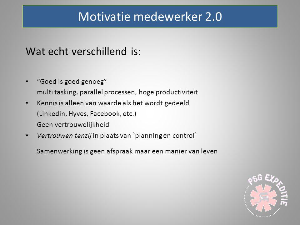"""Motivatie medewerker 2.0 Wat echt verschillend is: """"Goed is goed genoeg"""" multi tasking, parallel processen, hoge productiviteit Kennis is alleen van w"""