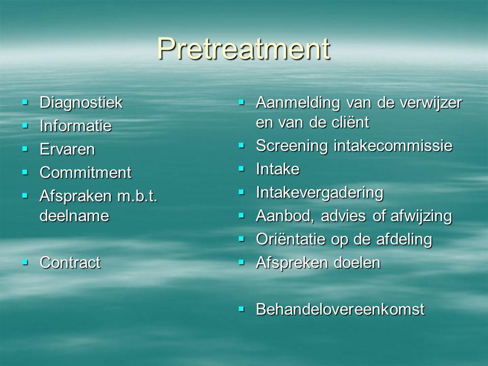Pretreatment  Diagnostiek  Informatie  Ervaren  Commitment  Afspraken m.b.t. deelname  Contract  Aanmelding van de verwijzer en van de cliënt 